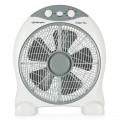 BOX FAN. Tamaño de aspas 30 cm. 3 velocidades de ventilación. Silencioso. Difusor rotativo. Temporizador de 2 horas. Asa para tr